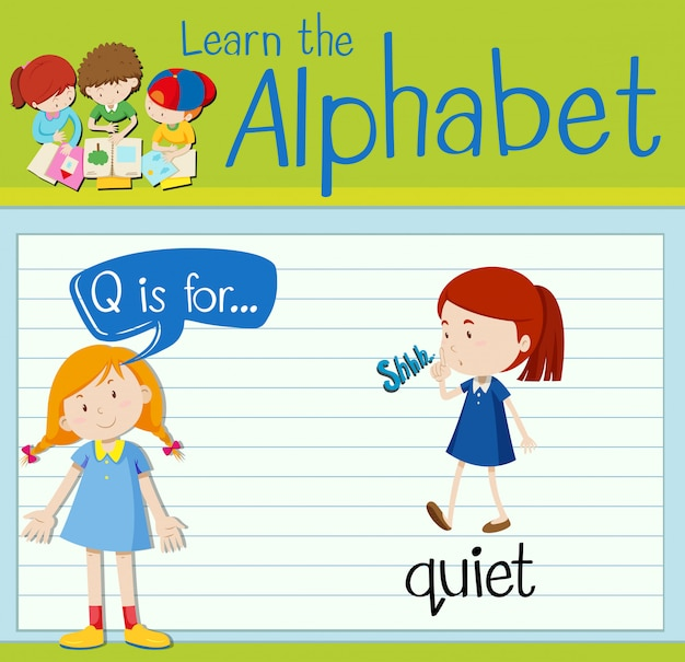 Flashcard letter q is for quiet