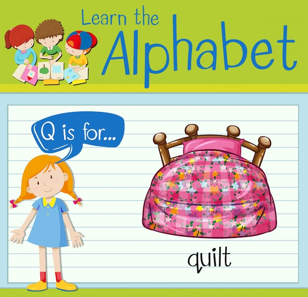 Flashcard letter q is for quilt