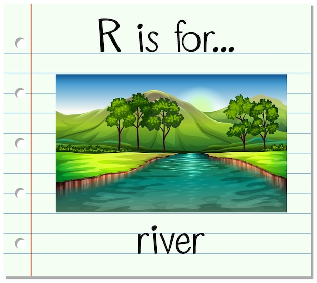 Flashcard letter r is for river