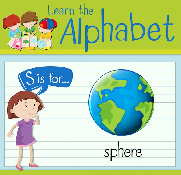 Flashcard letter s is for sphere