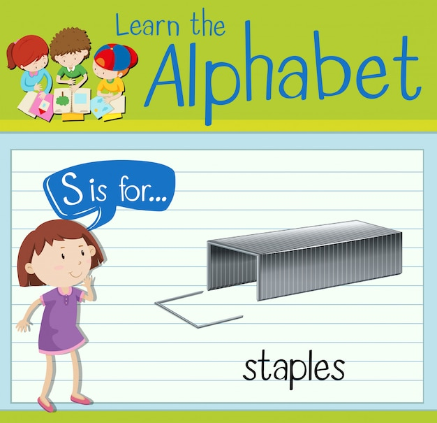 Flashcard letter s is for staples
