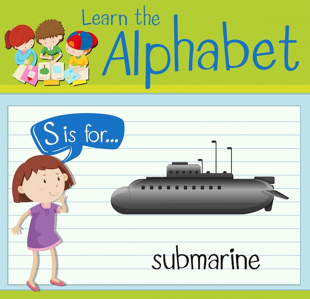 Flashcard letter s is for submarine