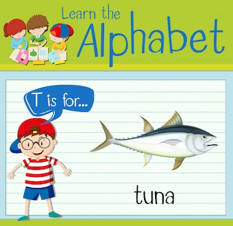 Flashcard letter T is for tuna