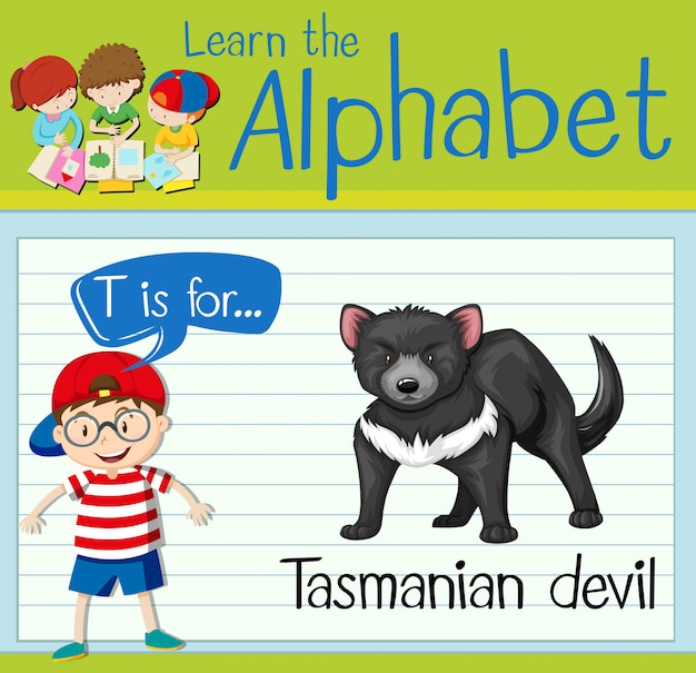 Flashcard letter t is for tasmanian devil