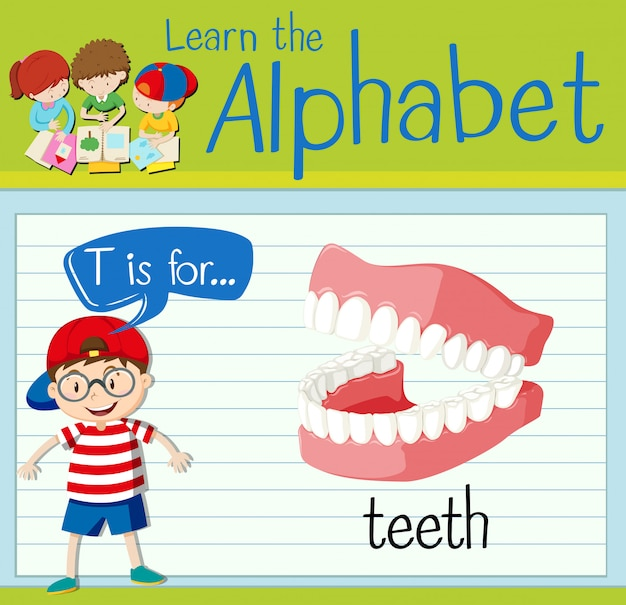 Flashcard letter t is for teeth