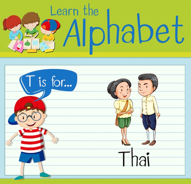 Flashcard letter t is for thai