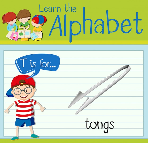 Flashcard letter t is for tongs
