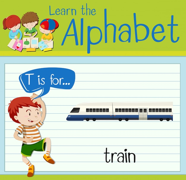 Flashcard letter t is for train
