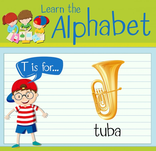 Flashcard letter t is for tuba