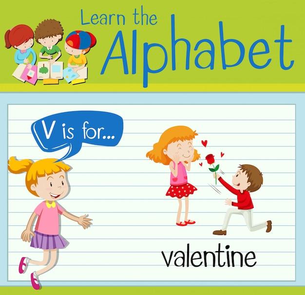 Буквенная буква v для valentine