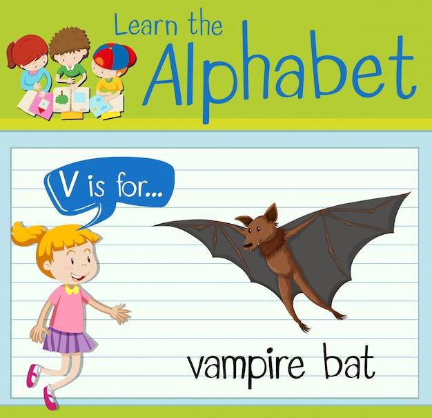 Буквенная карточка v для летучей мыши-вампира