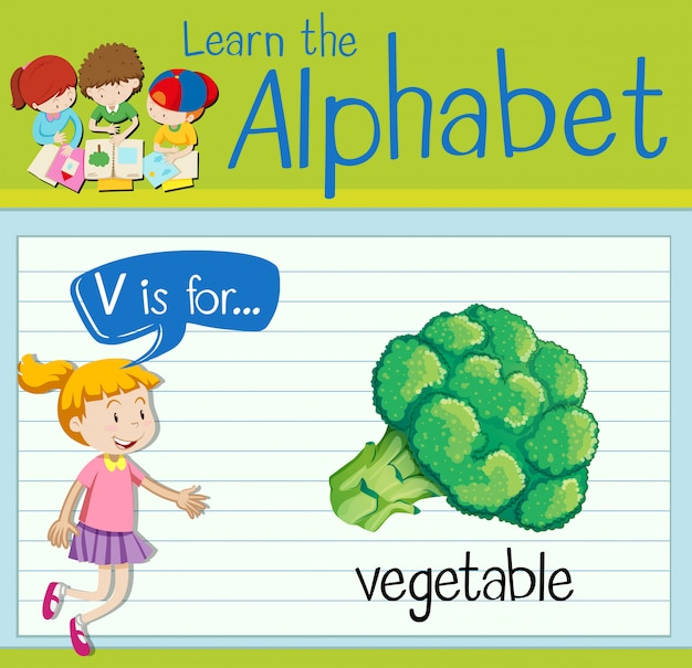 Буквенная карточка v для овощей