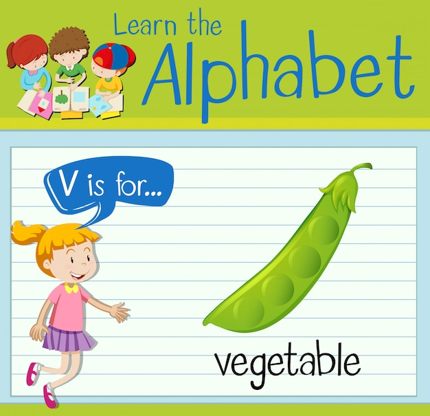 Буквенная карточка v для овощей Premium векторы