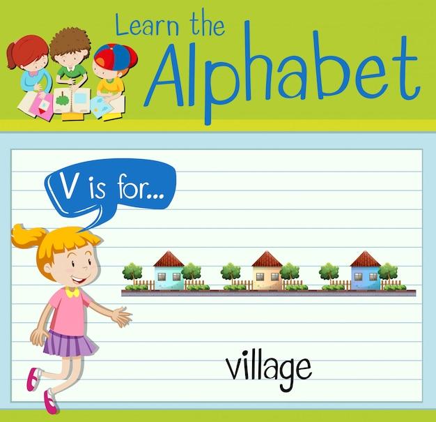Буквенная карточка v для деревни