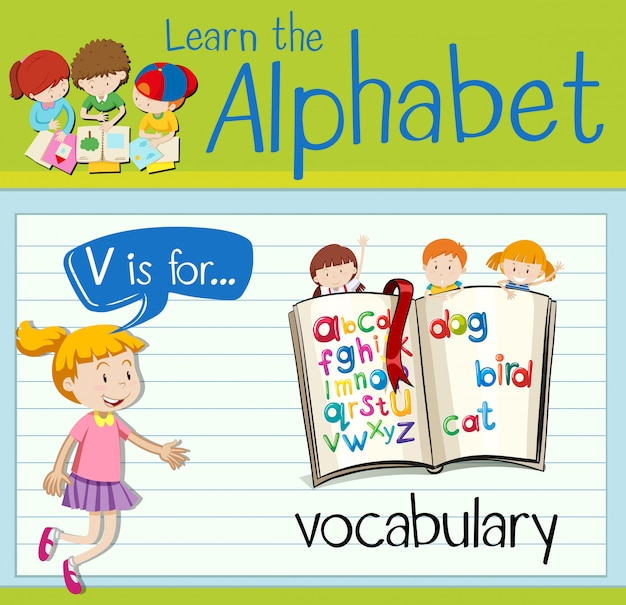 Буквенная буква v flash для словарного запаса