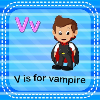Flashcard letter v is for vampire
