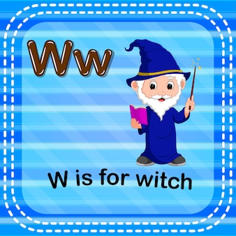 Flashcard letter w is for witch