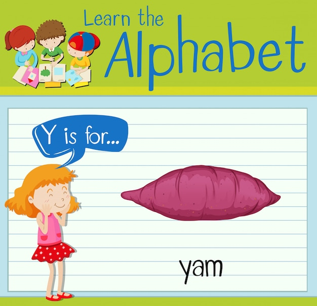 Flashcard letter y is for yam