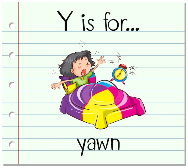 Flashcard letter y is for yawn