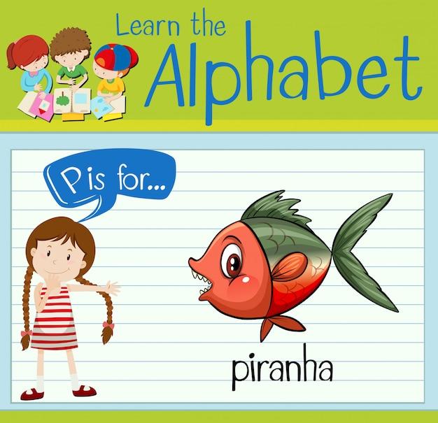 Алфавит flashcard p для пираньи