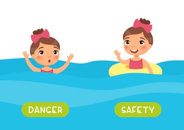 키즈 템플릿에 대한 반의어와 플래시 카드. 외국어 공부를위한 단어 카드. 반의어 개념, 안전 및 위험. typ와 풍선 반지 평면 그림없이 withand 수영 소녀