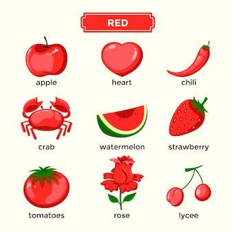 Карточки для изучения красных цветов и словарный запас
