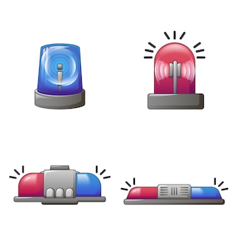 Flasher siren red blue icons set