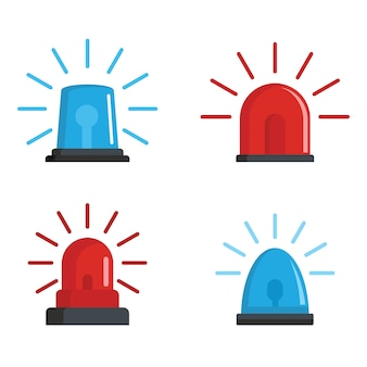 Flasher siren red and blue icons set