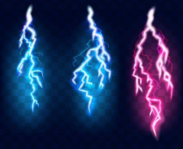 Flashes of lightning set, isolated on transparent background.