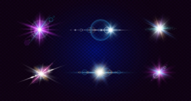 点滅する光。さまざまな光の効果のコレクション。