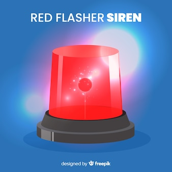 Flashing red siren