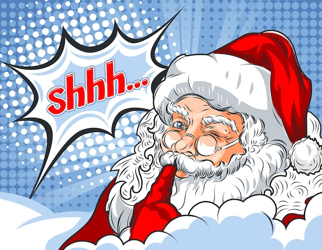 Flashing santa claus with his finger to his mouth and the word shhh ...