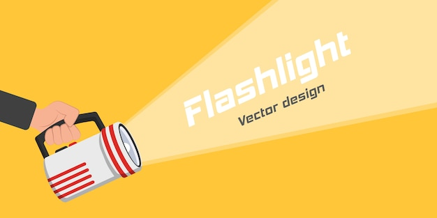 Flashlight icon for advertising and text. place for your text. hand with holding flashlight and projection light beam in flat design.