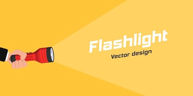 광고 및 텍스트에 대한 손전등 아이콘. 평면 디자인에 손전등과 프로젝션 광선을 들고 손. 텍스트를 배치하십시오. 삽화.