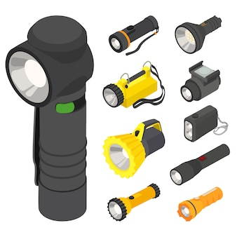 Flashlight icons set, isometric style