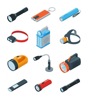 Flashlight  illustration on white background . isometric set icon spotlight.  cartoon set icon flashlight.