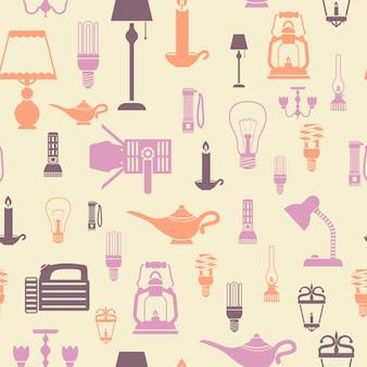 Illustrazione senza cuciture di vettore del modello delle lampadine elettriche delle lampade e della torcia elettrica