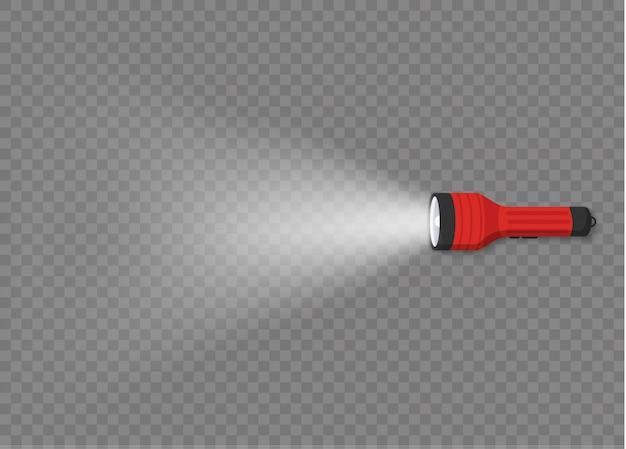 スポットライトまたはフラッシュ付きの懐中電灯照明。透明な背景に光のビームを持つさまざまな種類の懐中電灯。ランタンまたは点滅灯のセット。