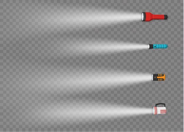 Фонарик освещения с помощью прожектора или вспышки. набор фонаря или мигающей лампы. различные виды фонариков с лучами света на прозрачном фоне