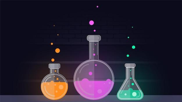 유리병 시험관에 있는 화학 약학 화학 수업용 플라스크