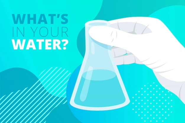 Flask in hand in plastic glove with text what is in your water on gradient fluid background. water analysis, science laboratory research and development concept. flat illustration