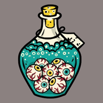 Flask with scary horrible eyes for halloween holiday design