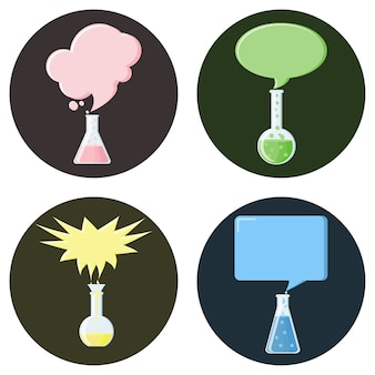 Flasks with speech bubbles set of icons