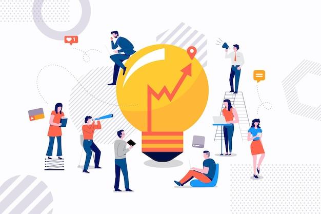 좋은 아이디어 마케팅을 위해 일하는 사업가의 flast 디자인 컨셉 그룹