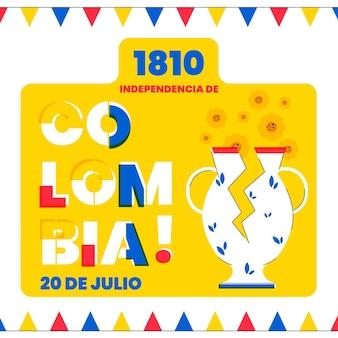 Flat 20 de julio-independencia decolombiaイラスト