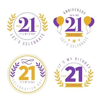 Collezione di badge per il 21 ° anniversario piatto