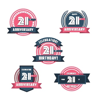 Set di badge piatto 21 anniversario