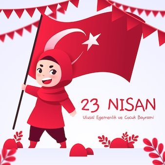 Flat 23 nisan illustration Free Vector