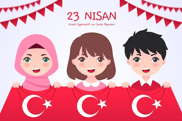 Плоская иллюстрация 23 нисана