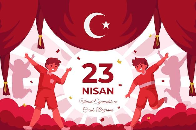 Flat 23 nisan illustration Premium Vector